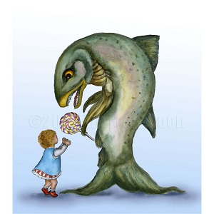A little girl accepts a lollipop from a strange fishlike man
