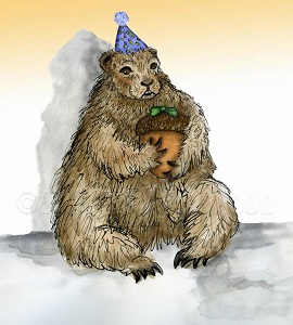 A groundhog is wearing a party hat and holding an acorn