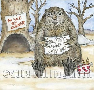 A groundhog sits outside his burrows holding a sign