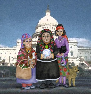 Three Romanian witches stand in front of the US Capitol