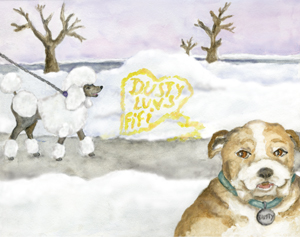 Dusty the bulldog leaves Fifi the poodle yellow love notes in a snow drift.