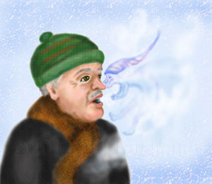 Jack Frost is nipping at a man's nose