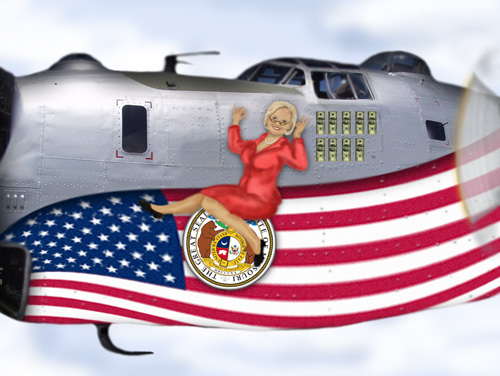 Senator Claire McCaskill as a Varga girl on the side of a B-24