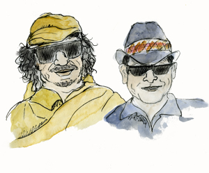Portrait of Muammar Qaddafi and Charlie Sheen