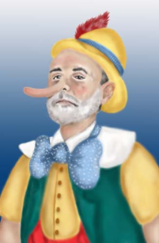 Picture of Ben Bernanke portayed as Pinocchio