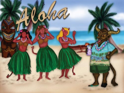 The horned Krampus monster is on the beach with hula dancers