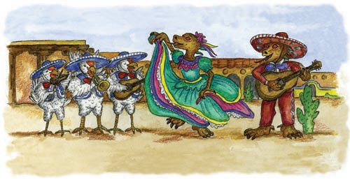 A chupacabra dances to a chicken mariachi band