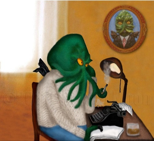Cthulhu works on his typewriter as he smokes a cigarette