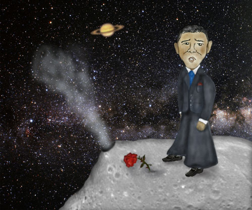 President Obama is on the asteroid Vesta along with a lone rose