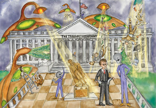 Alien UFOs are beaming up valuable items at the Treasury Department