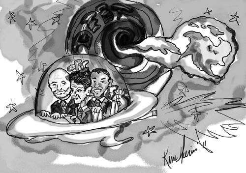 President Obama, Ben Bernanke and Timothy Geithner flee Earth in a UFO