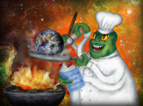 A green space alien in a chef's uniform is sautéing the Earth