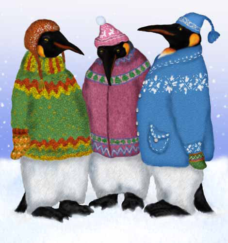 Three penguins are keeping warm with their new sweaters