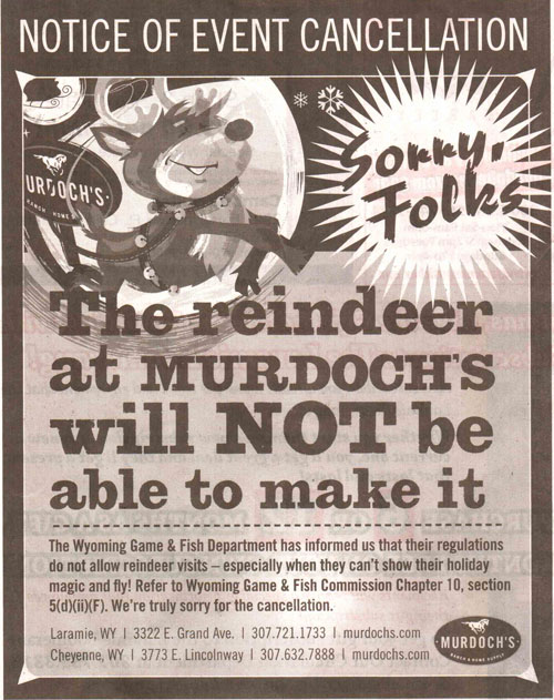 Newspaper ad announcing the cancellation of the reindeer event
