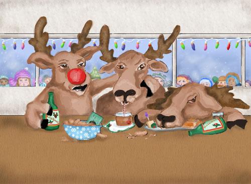 The children watch Santa's reindeer drinking at a bar