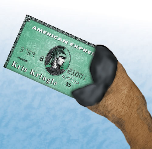 A reindeeer is holding Santa's American Express Card