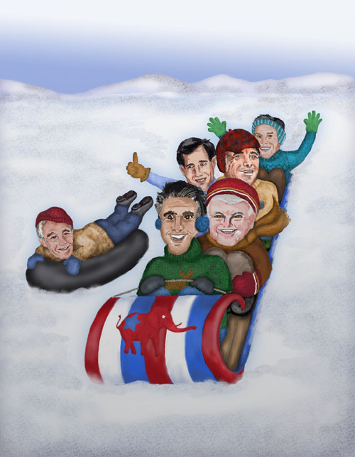 The six republican candidates are sledding down a steep hill
