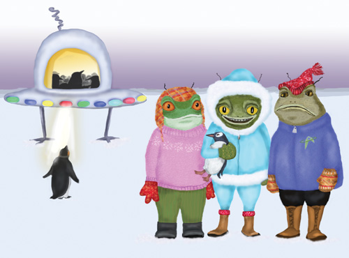 Frogs dressed in winter clothes are taking penguins to their saucer