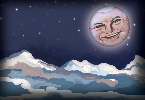 The lunar image of Newt Gingrich shines over the Colorado Rocky Mountains