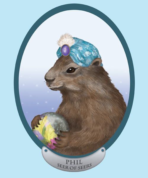 Punxsutawney Phil the Groundhog is holding a crystal ball