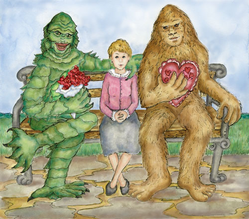 Margaret sits on a bench flanked by two suitors, Swamp Creature and Bigfoot.
