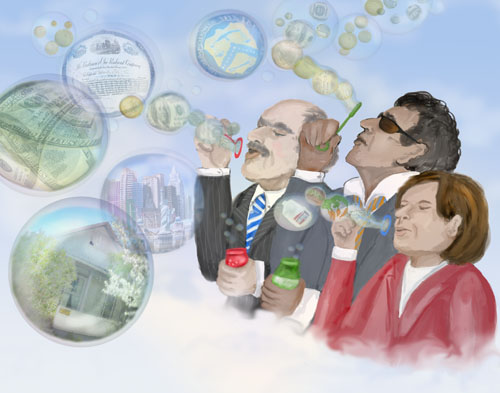 Three individuals are seen blowing financial bubbles