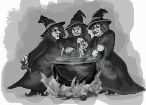 Three witches are stirring a cauldron full of poisonous ingredients
