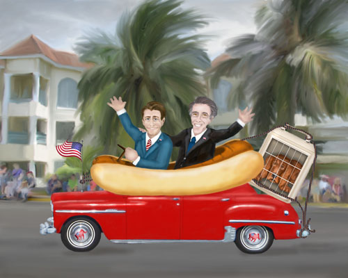 Romney and Ryan arrive in Tampa in a giant sausage car