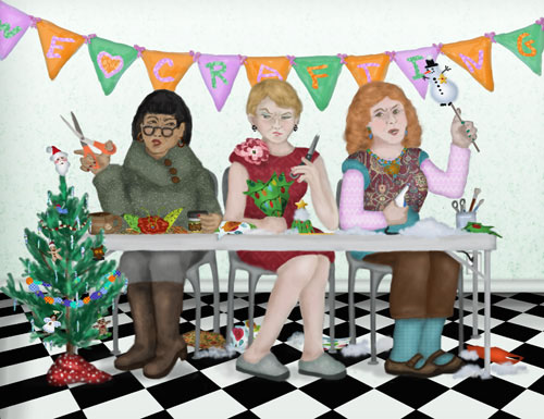 Three holiday crafters are angry because the glue ran out