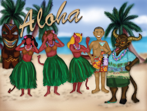 Krampus and President Obama listen to music on the beach in Hawaii