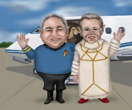 Senator Menéndez and the Doctor Delray are boarding a private jet