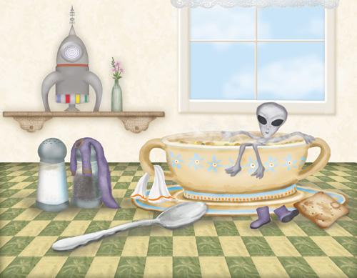 A little space alien is taking a relaxing bath in my bowl of soup