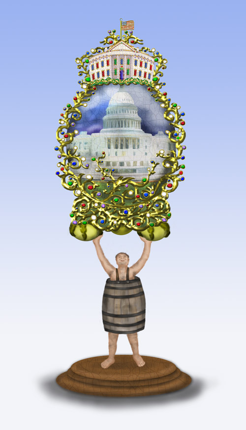A man wearing only a pickle barrel is supporting the US Capitol