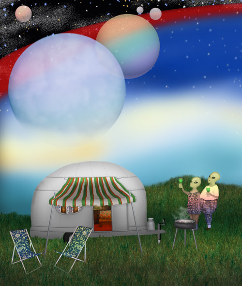 Two space aliens in vacation attire are toasting a cosmic display