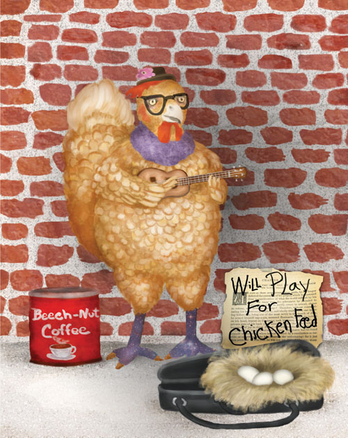 A destitute chicken is playing a ukulele on a street corner hoping for tips