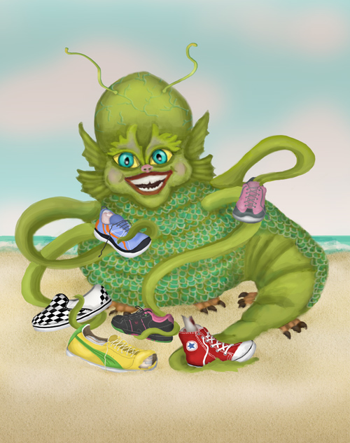 Randy the sea monster shows off his collection of colorful sneakers