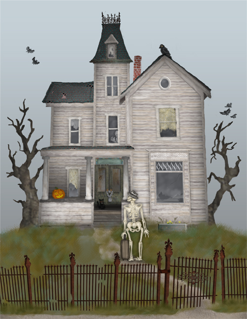 A skeleton holding a suitcase is approaching a haunted house