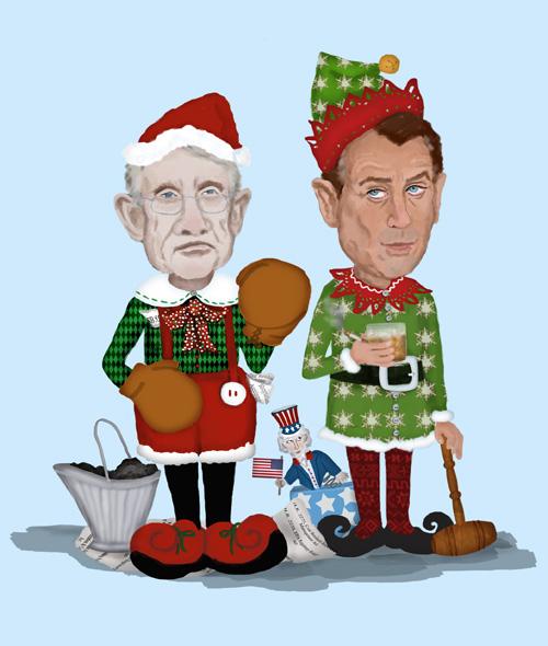 Harry Reid and John Boehner are dressed as Christmas Elves