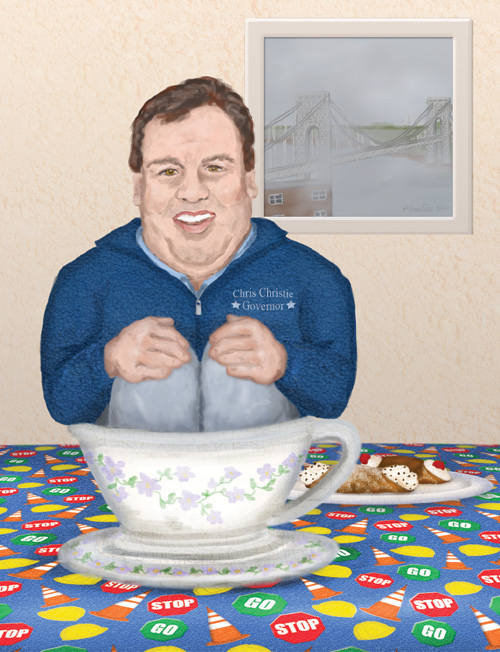 Governor Chris Christie is sitting in a teacup with his plate of cannoli next to him
