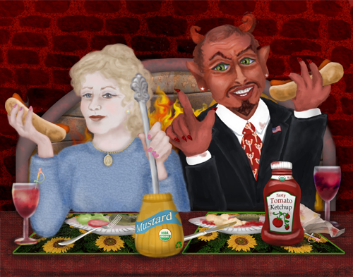 Mary is sharing a hot dog lunch with Prince of Darkness