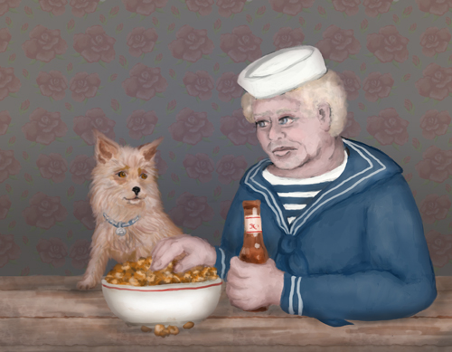 : An elderly sailor is enjoying a beer and a tasty snack