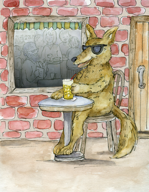 A coyote with sunglasses is enjoying a drink at an outdoor cafe