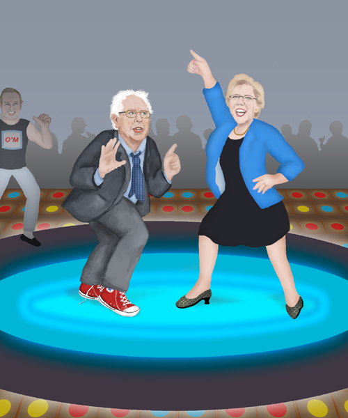 Senators Bernie Sanders and Elizabeth Warren are dancing energetically to 70's era disco music