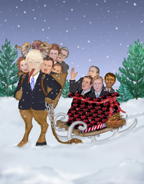 The Trumpus carts away a load of candidates in a basket and a sled