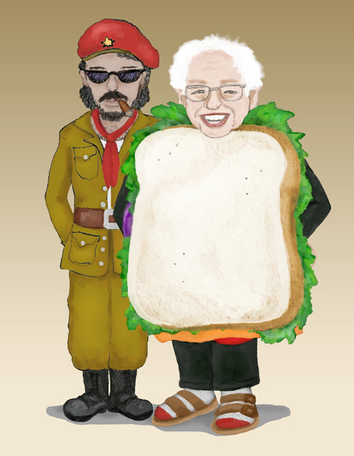 Victorious Bernie Sanders and Sanderista Comandante Chimichurri stand side-by-side