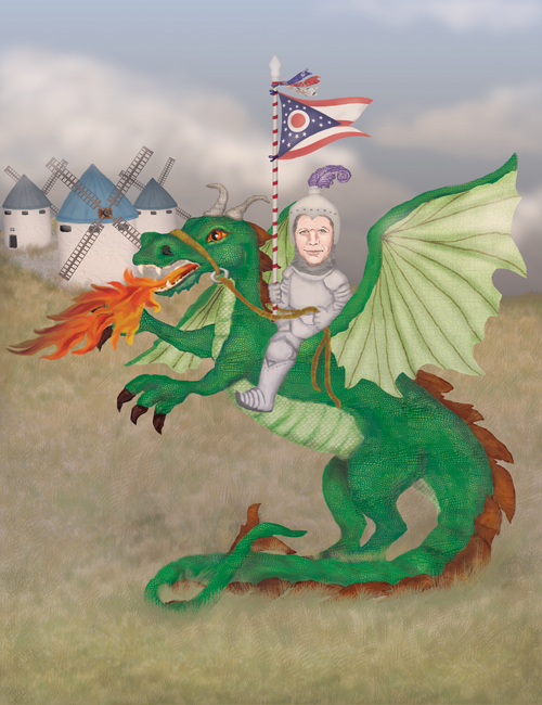 Governor John Kasich is riding a dragon against a backdrop of windmills