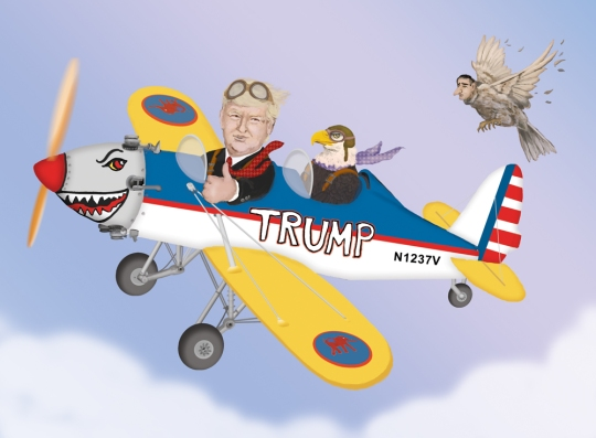 Ted Cruz is chasing The Donald who is flying an antique airplane
