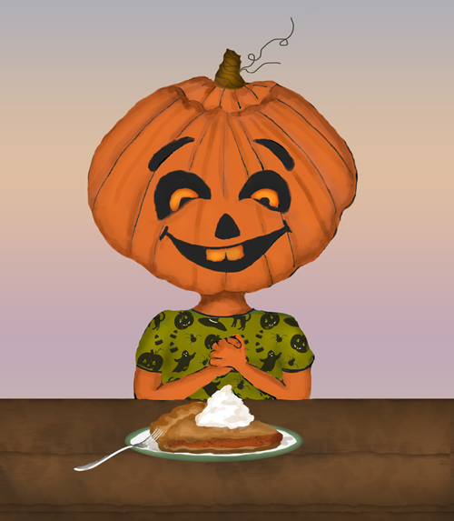 A pumpkin-headed kid is about ready to eat a piece of pumpkin pie.