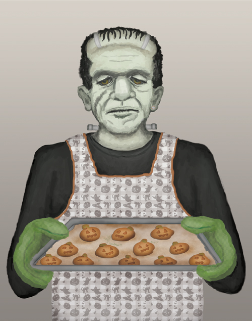 Frankenstein holds a freshly baked tray of pumpkin spice cookies.