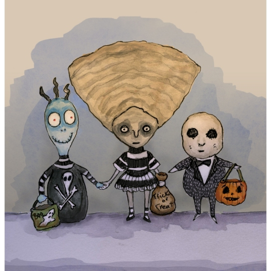 Children based on Tim Burton Characters go trick or treating.